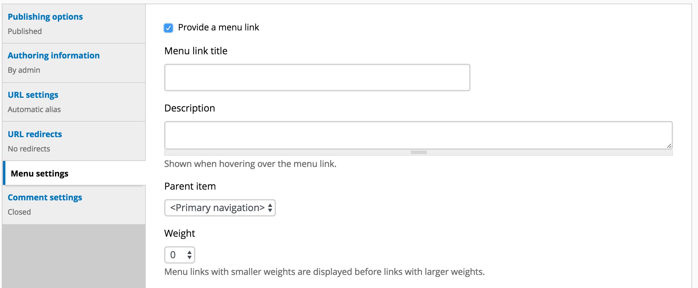 Image of Menu settings vertical tab