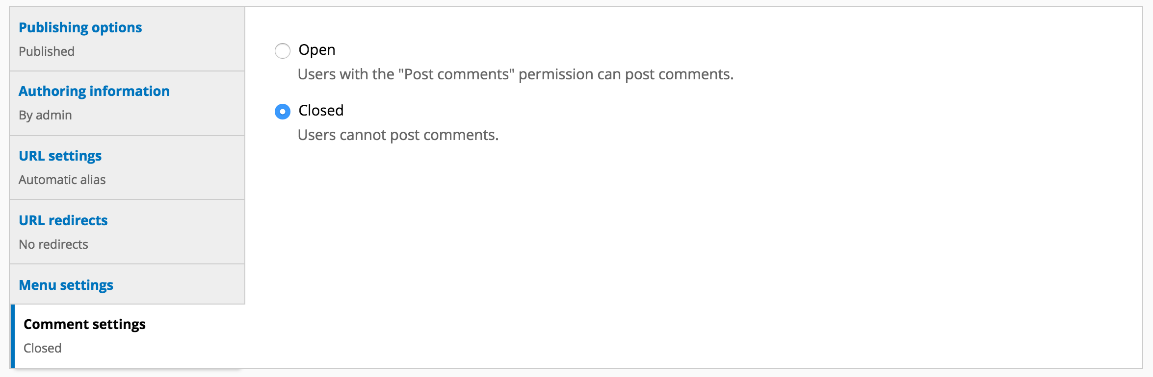 Image of Comment settings in vertical tab